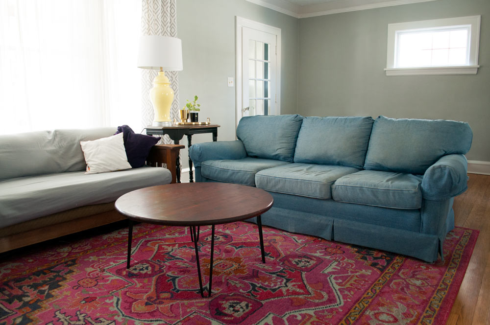 Hand me down denim couch with Rugs USA Chroma Center Medallion rug