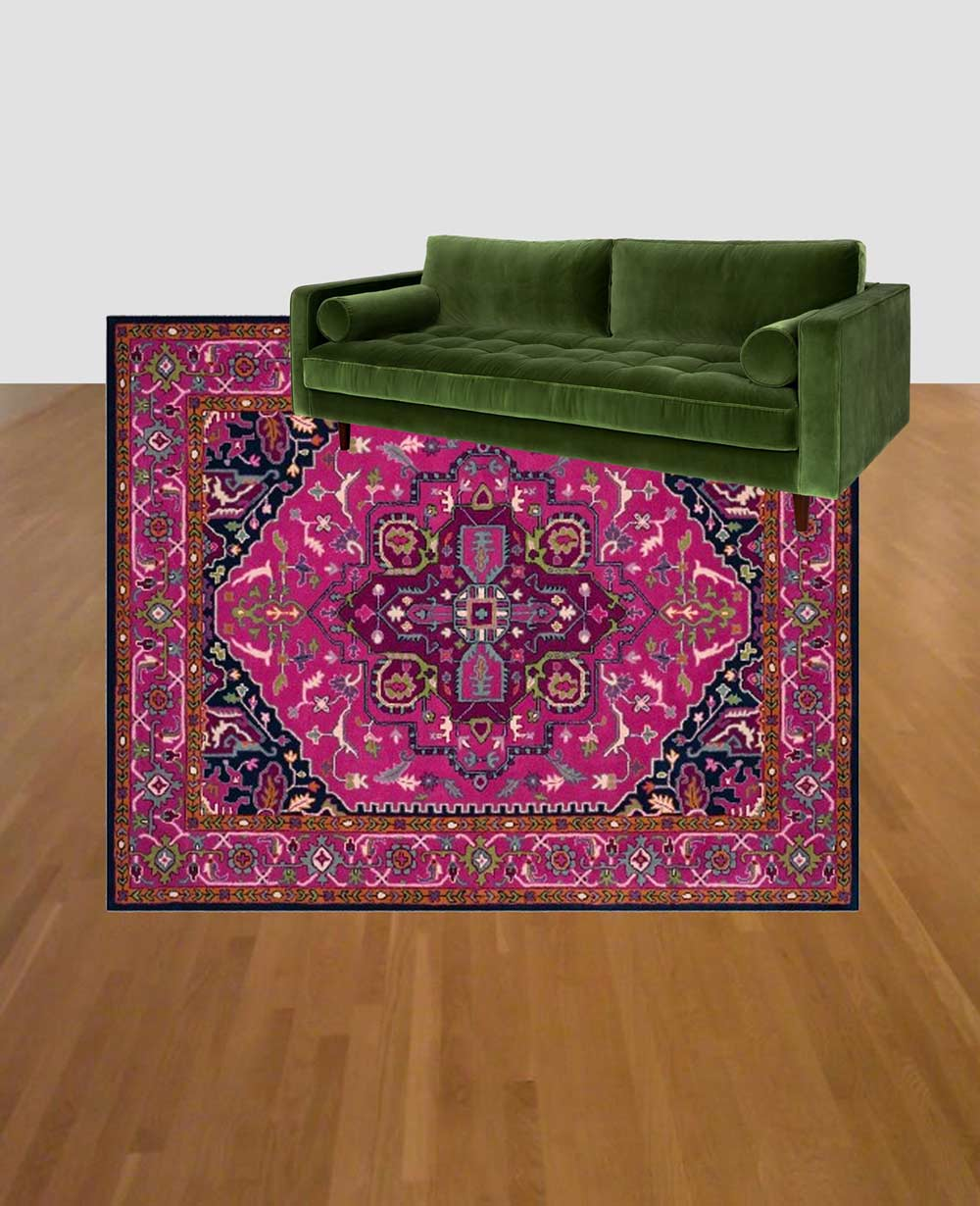Green couch and pink rug combo: Article Sven Grass Green Velvet couch with Target Safavieh Alden rug mockup