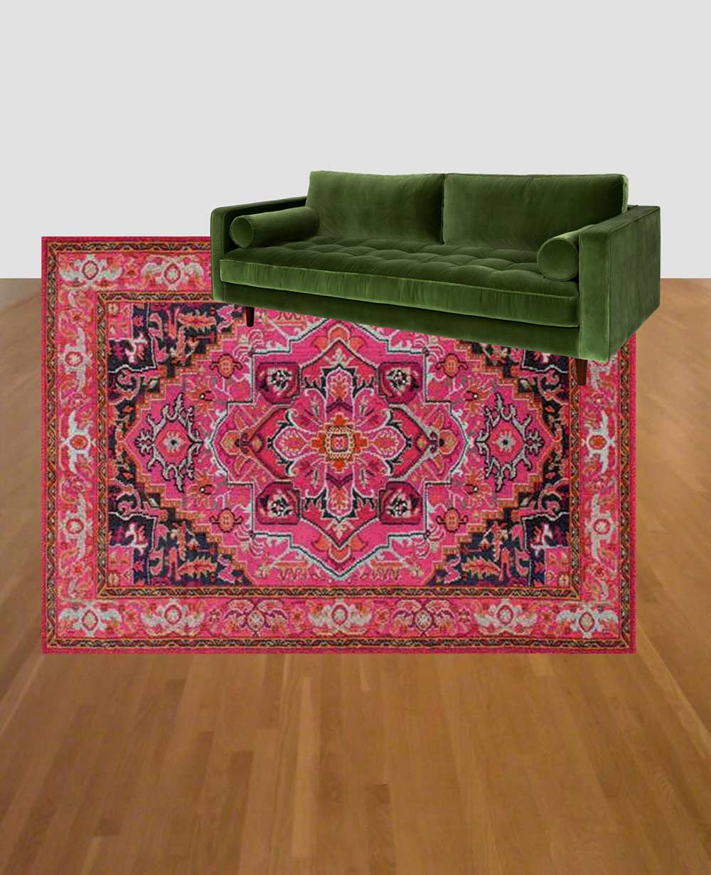 Green couch and pink rug combo: Article Sven Grass Green Velvet couch with Rugs USA Chroma Center Medallion mockup
