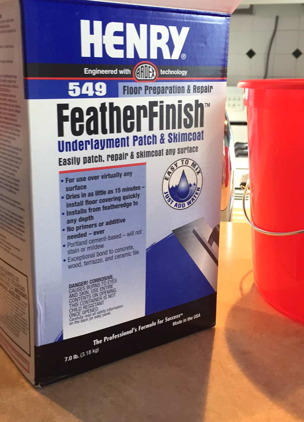 Using Henry FeatherFinish for DIY concrete counters over existing tile countertops