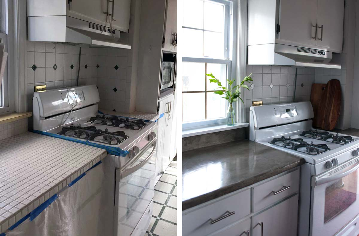 Before and After DIY feather finish concrete over tile counters