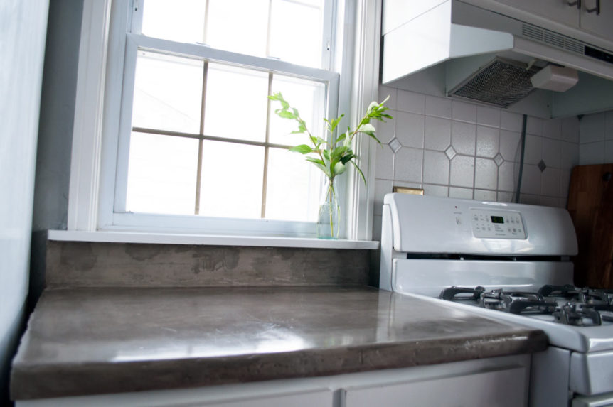 DIY feather finish concrete over tile counters