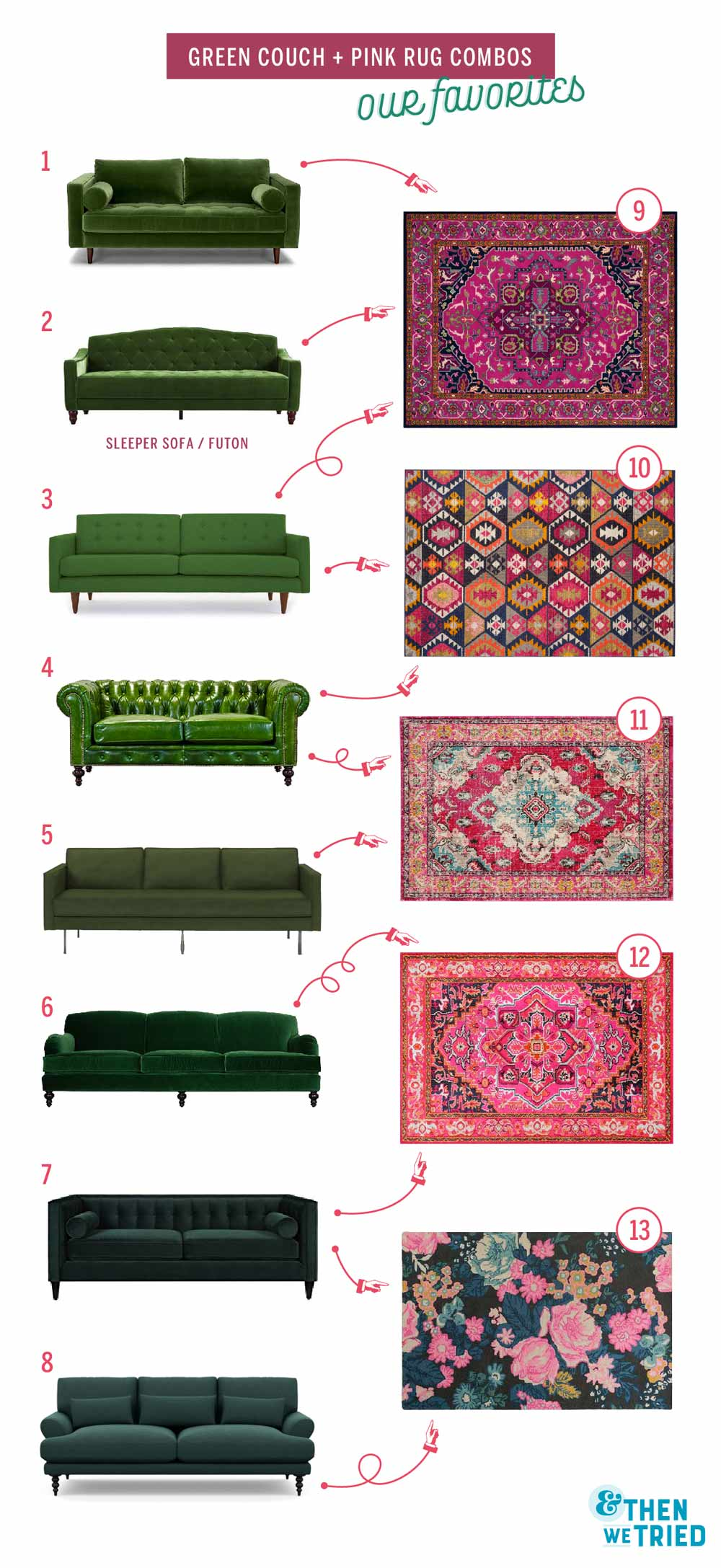 Perfect green couch and pink rug pairings