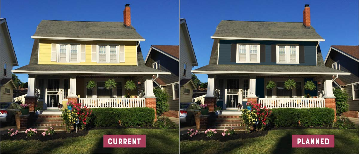 Going from lemon yellow to dark teal house siding