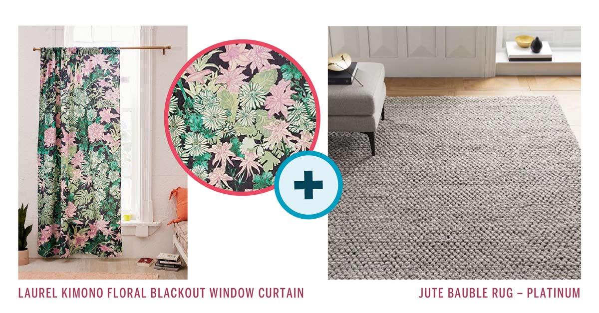 Laurel Kimono Floral Curtain +Jute Bauble Rug