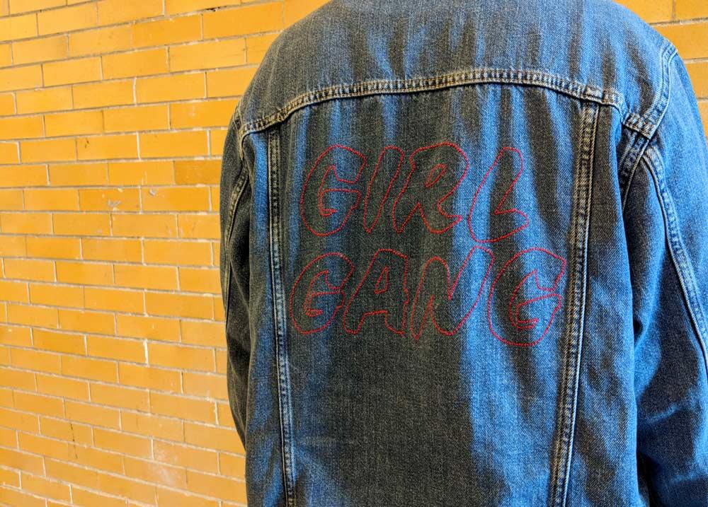 DIY embroidered denim jacket, GIRL GANG jacket